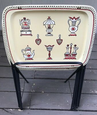 Set 3 Vintage Metal TV Trays Cream Red Black Tole Kitchen Motif MCM Stand Tole