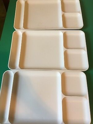 3 TUPPERWARE Divided Lunch / Dinner Plates/ TV Snack Food Trays ALMOND