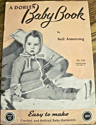 """Vintage 1947 A Doreen """"Baby Book"""" Easy to Make Crochet & Knitted Baby Garments"""