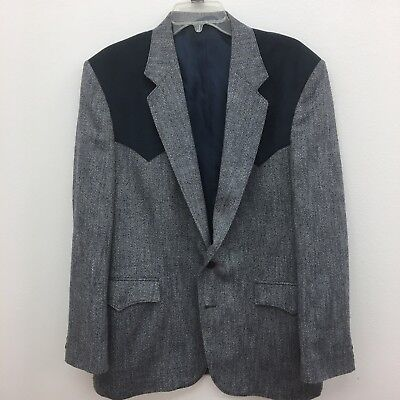 Circle S 40R Western Style Rockabilly Sports Coat Jacket Charcoal Herringbone