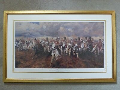 Charge of The Scots Greys At Waterloo Framed and Mounted Print