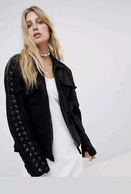 e85c39f6c2 FREE PEOPLE FAYE Military Lace-Up Jacket Spread Collar Zip Closure ...