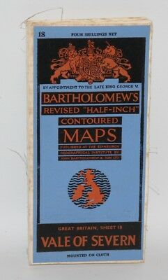 Bartholomew - Half-inch Contoured Cloth Map - Vale of Severn - Sheet 18 - 1947