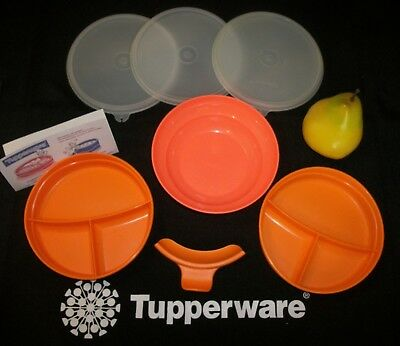 Tupperware ORANGE Munch Kids Eco Stages Divided Dish Plate ~Easy Grip Handle
