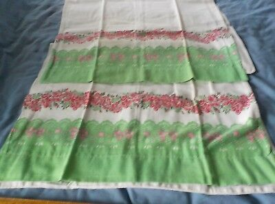 Vintage Pair cotton feedsack pillowcases green & red flowers