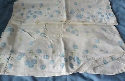 Vintage Pair cotton feedsack pillowcases white w blue flowers