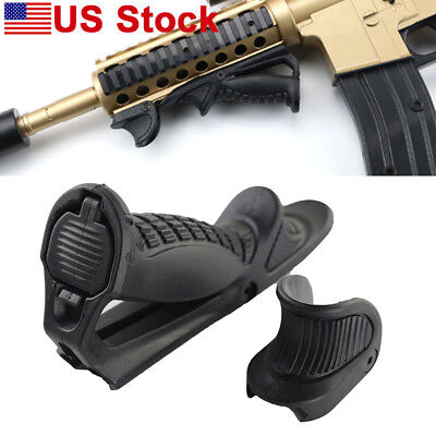 Rifle Tactical Ergonomic Forward Point Angled Fore Grip W/ Thumb Lock Hand Stop