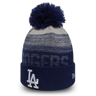 New Era La Dodgers Sport Knit Bobble Hat.mlb Lined Blue Mens Womens Beanie 8W