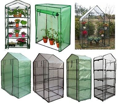 4 Tier Walk In Greenhouse Growhouse Frame & Covers Outdoor Garden Plant Grow Bag
