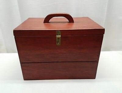 Vintage Wood Hand Made Storage Sewing Stash Box Chest Trunk Travel Case Pine Old