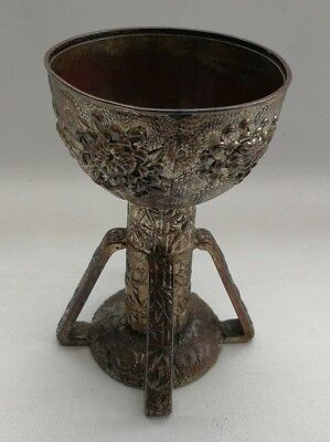 Vtg Japanese Silver Plate Lotus Flower Bamboo Chalice Cup/Candle Stick Vase Urn
