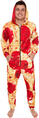 Silver Lilly Hooded Long Sleeve Zip Pepperoni Pizza Jumpsuit Pajamas NEW