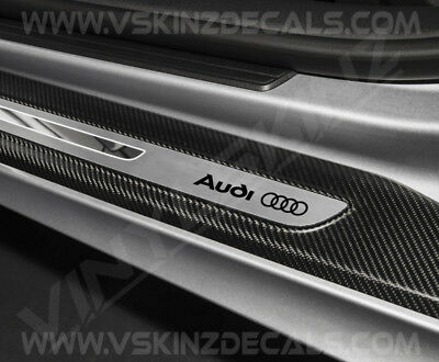Audi Logo Premium Cast Door Sill Decals Kit Stickers TT RS A3 A4 S-line Quattro