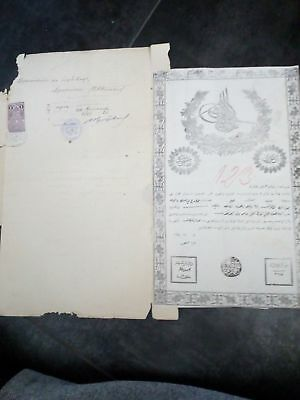 Old Antique Ottoman Empire Ownership Document 1872 Tugra