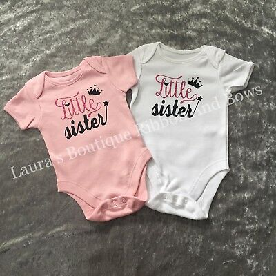 Big sister, Middle sister & Little sister Baby vest available in white & pink