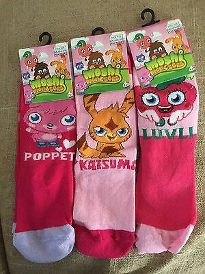 【 3 pairs 】Moshi Monster socks for girls 121/2 to 3 1/2 size  new with tag