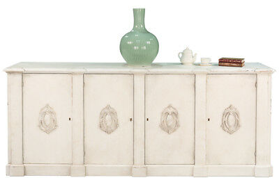 Vintage Style Italian White Crested Sideboard Cabinet Old Solid Pine Wood,96''L