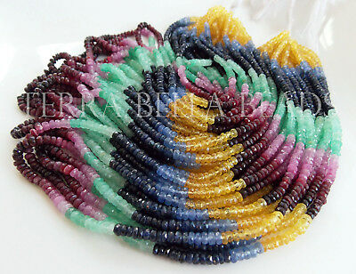 """7"""" precious SAPPHIRE RUBY EMERALD faceted rondelle gem stone beads 3mm - 3.5mm"""