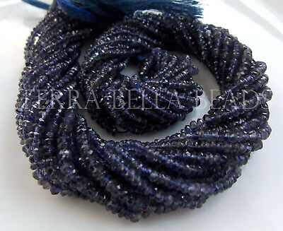 """13"""" deep blue IOLITE faceted gem stone rondelle beads 3mm - 3.5mm WATER SAPPHIRE"""