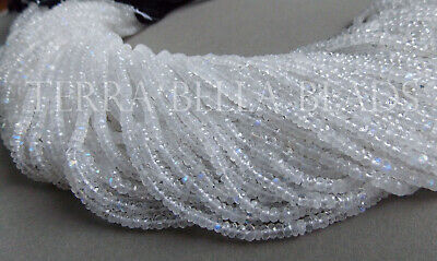 """13"""" strand RAINBOW MOONSTONE faceted gem stone rondelle beads 3mm - 3.5mm"""
