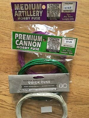 CANNON FUSE 3mm hobby safety fuse VARIETY PACK package label 3 PACK MIX N MATCH
