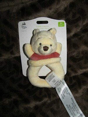 Disney Store Infant Baby Plush Rattle Winnie the Pooh NEW ON CARD