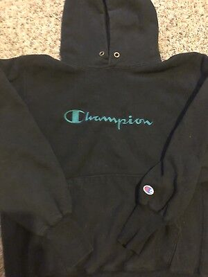 Vintage 90's Champion Spellout Reverses Weave Hoodie Made In Usa Sz L Very Rare