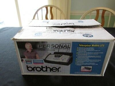 Brother Fax Machine FAX-575 Phone Copier In box with instructions and cords
