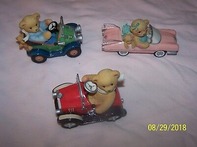 Lot of 3 Cherished Teddies in Cars - Evelyn, Roger, Dave