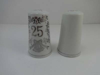 Norcrest Silver & White Bells Porcelain 25th Anniversary Salt & Pepper Shakers
