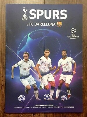 Tottenham Hotspur (Spurs) v Barcelona Champions League Programme 3 October 2018