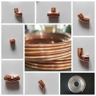 8Mm Yorkshire Copper Tube/Pipe/Endfeed Fittings/Plumbing Joblot