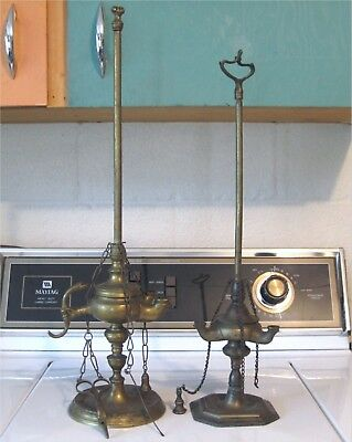 Antique SOLID BRASS 19th CENTURY WHALE OIL LAMPS with TOOLS - AS IS For PARTS