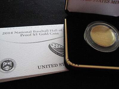 USA National Hall of Fame Baseball Gewölbte Proof Goldmünze 2014