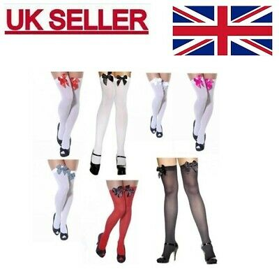 Women Over The Knee Hold Up Stockings Socks Thigh High With Bows Fancy Dress AT