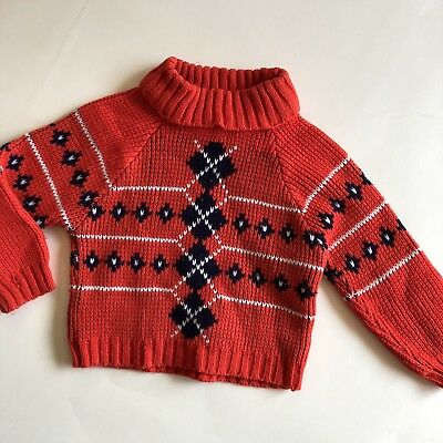Vintage Baby Argyle Pull-Over Sweater Red Blue 18-24 Months
