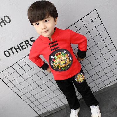 Boys 2-8Y Chinese Style Chinese New Year Outfit Top+bottom