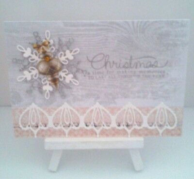 Handmade Christmas Card:Little Bauble (Apricot with Lace)