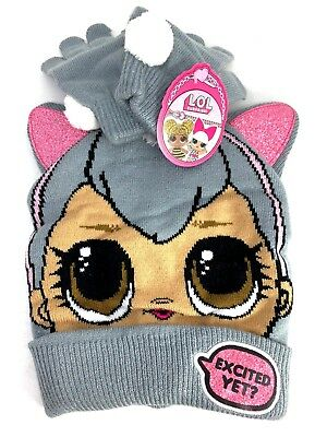 L.O.L Surprise! Scandinavian Knitted Beanie Hat with Pair Gloves Age 6-12 LOL