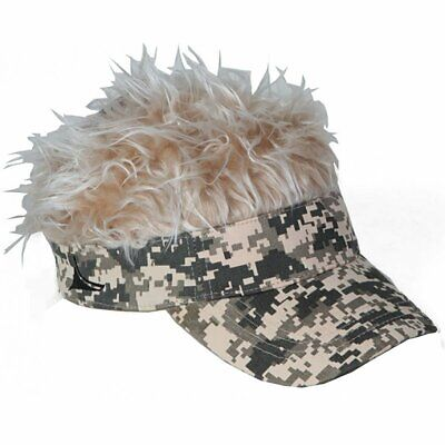 Flair Hair Men s Visor Hat Cap With Grey Silver Hair Camo Bald Head Warm  Balding 66bdf130b32