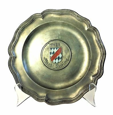 Peiting Family Crest Coat of Arms German 70th Birthday Pewter Plate 1969