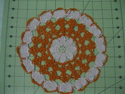 "1 Crochet Large Doilies 9"" Pink & Orange  ( Free Shipping )"