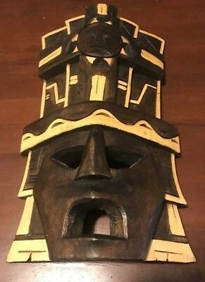 """Beautiful Hand Carved Wood Mayan Tribal Mask - 12"""" Tall - From Tulum Mexico"""
