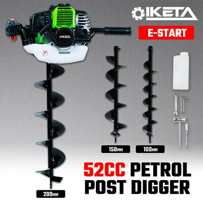 IKETA Post Hole Digger Ground Drill 52cc w 3 Augers Bit Petrol Earth Auger Fence