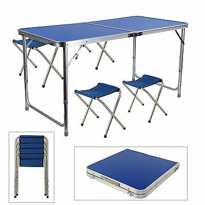 Portable Folding Table With 4 Chairs Kit For Camping Party Picnic Garden Dining