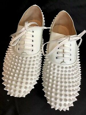 56913484f80a CHRISTIAN LOUBOUTIN FREDDY Flat Spikes Patent Fluo Oxfords Shoes 37 ...