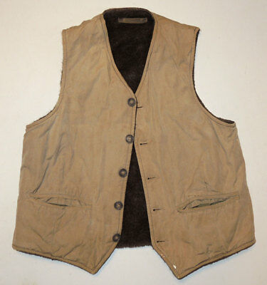 Vtg 30s/40s Alpaca Pile Lined Work Vest w/Cinches 38 Hunting N-1 Deck Jacket
