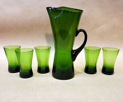 MID CENTURY GREEN JUG & SET OF FIVE MATCHING GLASSES TUMBLERS 1960s