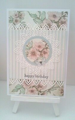 Handmade Birthday Card: Mint Gingham and Roses