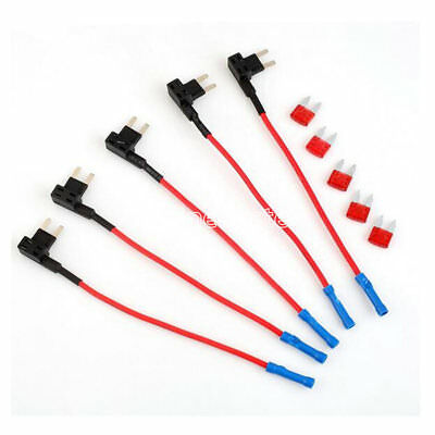 5 x ADD A Circuit Blade Piggy Back Fuse Holder Style ATM Tap Mini + 10A Fuse